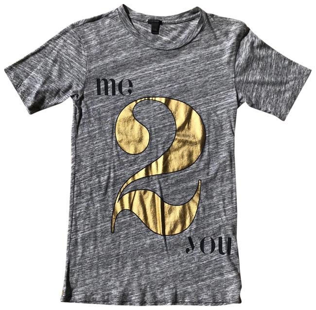 Item - Gray and Gold Me 2 You Metoo Tee Shirt Size 00 (XXS)