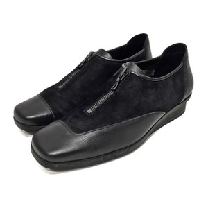 Arche Leather Nubuck Zip Black Wedges