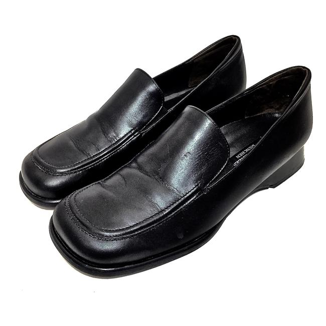 Item - Black W Leather Loafers W/ Low Heels Wedges Size US 7.5 Regular (M, B)