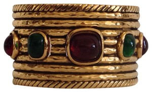 Chanel RESERVED FOR JACKIE 1980's CHANEL GOLD PLATED GRIPOIX CUFF