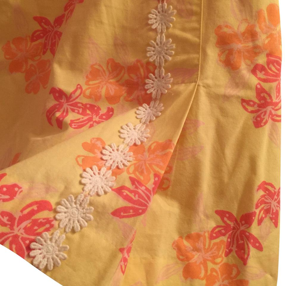 c239a1faa19c4 Lilly Pulitzer Orange Yellow with White Trim Rn 88189 Skirt Size 10 ...