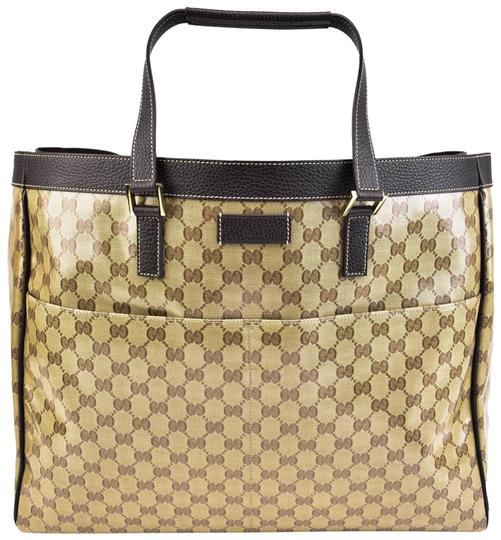 Preload https://img-static.tradesy.com/item/24209032/gucci-brown-leather-and-crystal-gg-logo-large-tote-mz-weekendtravel-bag-0-1-540-540.jpg