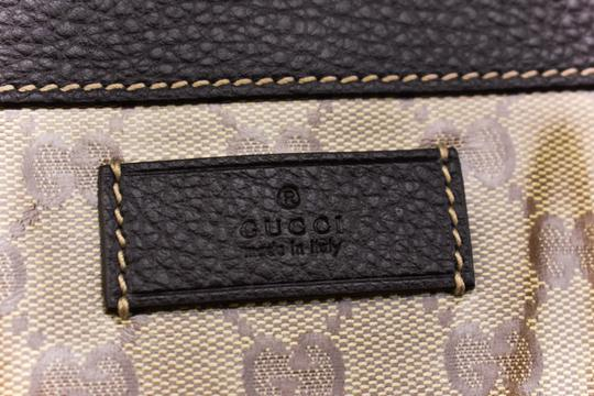 Gucci Gg Beige Logo Crystal Leather Brown Travel Bag Image 1
