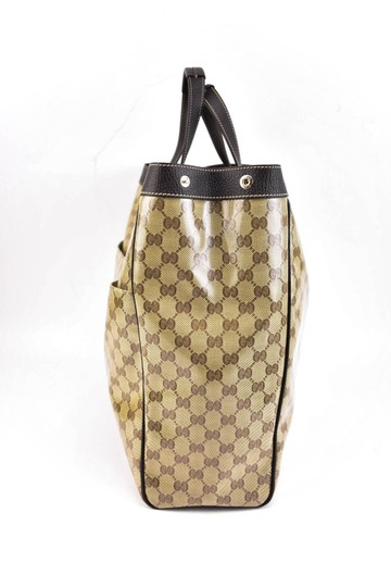 Gucci Gg Beige Logo Crystal Leather Brown Travel Bag Image 2