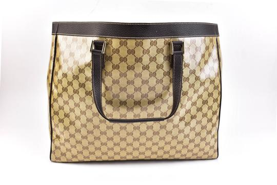 Gucci Gg Beige Logo Crystal Leather Brown Travel Bag Image 3