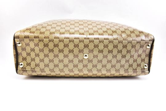Gucci Gg Beige Logo Crystal Leather Brown Travel Bag Image 5