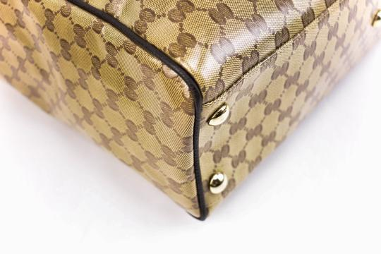 Gucci Gg Beige Logo Crystal Leather Brown Travel Bag Image 7