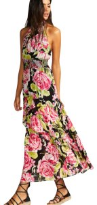 Black Combo Floral Maxi Dress by Free People Flowy Tiered Smock Halter