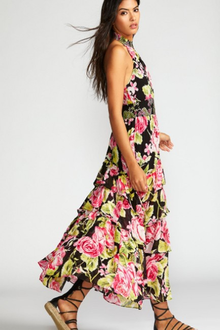 Black Combo Floral Maxi Dress by Free People Flowy Tiered Smock Halter Image 1
