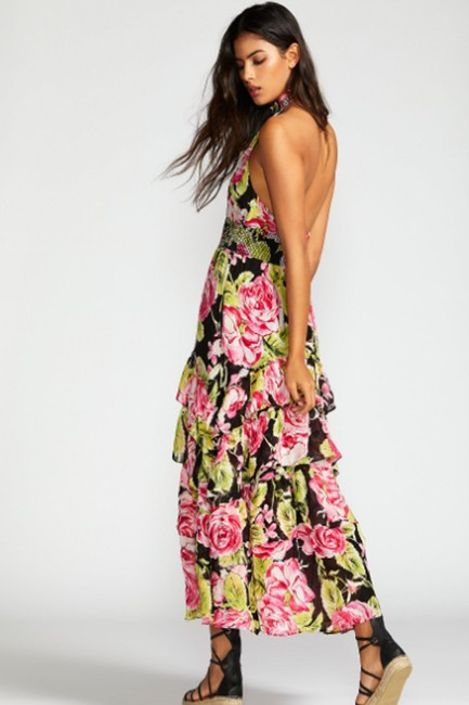 Black Combo Floral Maxi Dress by Free People Flowy Tiered Smock Halter Image 2