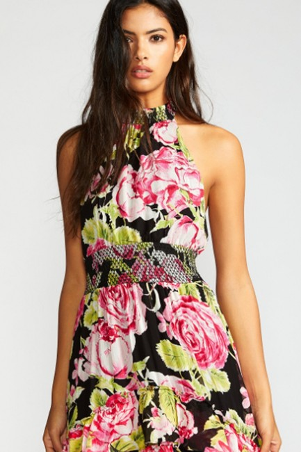 Black Combo Floral Maxi Dress by Free People Flowy Tiered Smock Halter Image 3