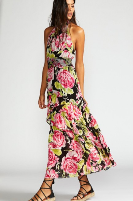 Black Combo Floral Maxi Dress by Free People Flowy Tiered Smock Halter Image 5