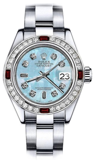 Preload https://img-static.tradesy.com/item/24209077/rolex-stainless-steel-blue-mother-of-pearl-82-31mm-datejust-diamond-and-ruby-bezel-watch-0-1-540-540.jpg