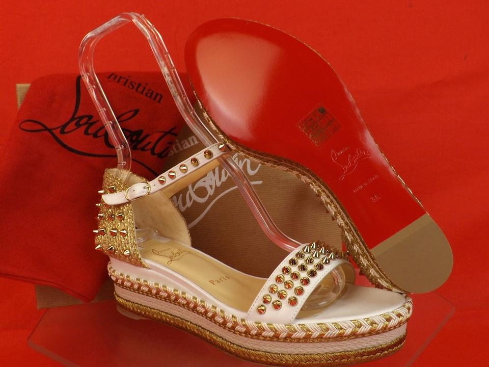 85055a1fe4 Christian Louboutin White Madmonica 60 Leather Gold Spikes Woven Espadrilles  Sandals Wedges Size EU 39 (Approx. US 9) Regular (M, B) - Tradesy