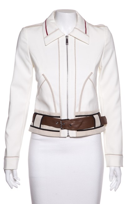 Item - White & Contrast Piping Woven Jacket Size 2 (XS)