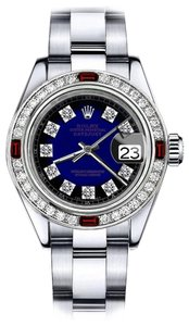 Rolex Rolex Blue Vignette SP 31mm Datejust Natural Diamonds & Ruby Bezel