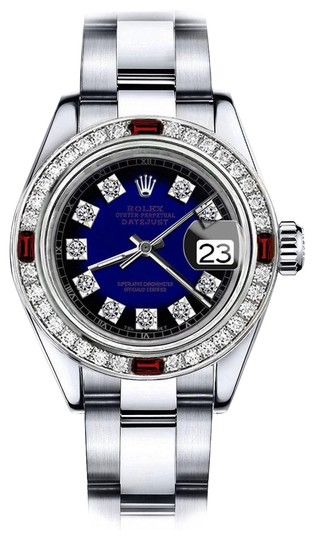 Preload https://img-static.tradesy.com/item/24209110/rolex-stainless-steel-blue-vignette-sp-31mm-datejust-natural-diamonds-and-ruby-bezel-watch-0-1-540-540.jpg
