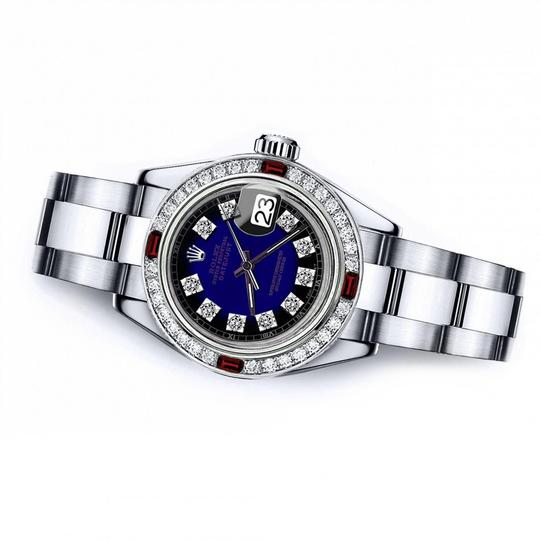 Rolex Rolex Blue Vignette SP 31mm Datejust Natural Diamonds & Ruby Bezel Image 1