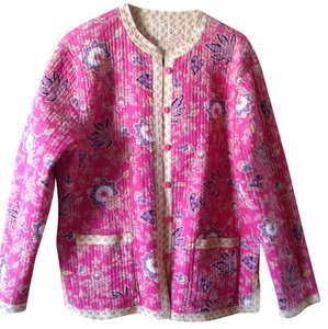 April Cornell Spring Multi colored print with dark pink, yellow and pink Jacket