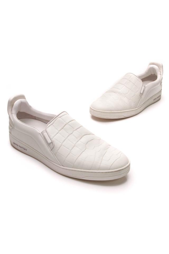 8ed763cafc71 Louis Vuitton White Croc Embossed Slip-on Sneakers - Sneakers Size ...