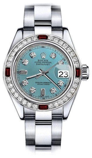 Preload https://img-static.tradesy.com/item/24209324/rolex-stainless-steel-turquoise-82-31mm-datejust-diamond-face-and-ruby-bezel-watch-0-1-540-540.jpg