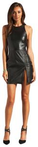 Bec & Bridge Slit Sexy Leather Mini Dress