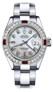 Rolex Rolex White Mother of Pearl 8+2 31mm Datejust Diamond & Ruby Bezel