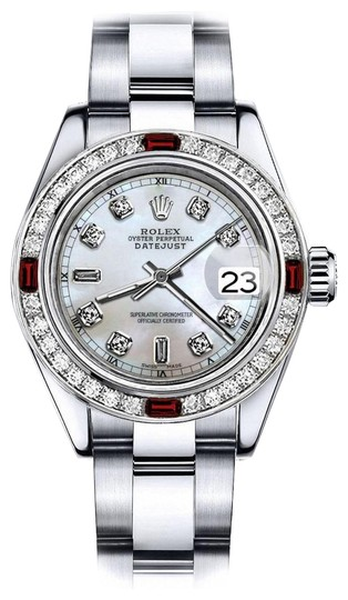 Preload https://img-static.tradesy.com/item/24209357/rolex-stainless-steel-white-mother-of-pearl-82-31mm-datejust-diamond-and-ruby-bezel-watch-0-1-540-540.jpg