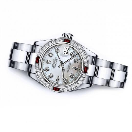 Rolex Rolex White Mother of Pearl 8+2 31mm Datejust Diamond & Ruby Bezel Image 1