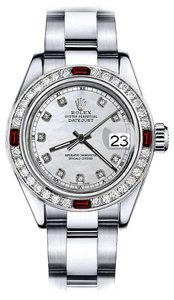 Rolex Rolex White Mother of Pearl Track 31mm Datejust Diamond & Ruby Bezel