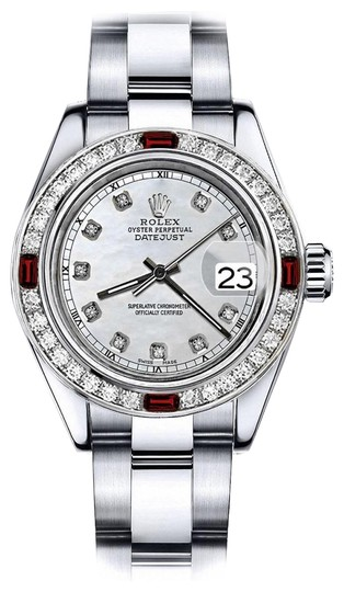 Preload https://img-static.tradesy.com/item/24209363/rolex-stainless-steel-white-mother-of-pearl-track-31mm-datejust-diamond-and-ruby-bezel-watch-0-1-540-540.jpg