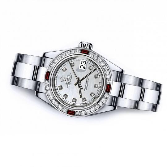 Rolex Rolex White Mother of Pearl Track 31mm Datejust Diamond & Ruby Bezel Image 1