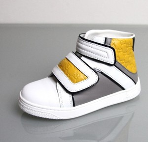 Gucci White/Gray/Yellow Kids Leather Coda Pop High-top Sneaker G 23/ Us 7 301353 301354 9089 Shoes