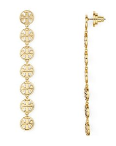 Tory Burch NEW Tory Burch Gold Logo Linear Drop Earrings
