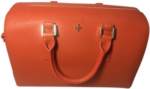 Tory Burch Leather Emerson Satchel in Spiced Orange
