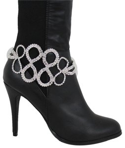 Alwaystyle4you Women Silver Metal Chain Boot Bracelet Infinity Braided Bling Anklet