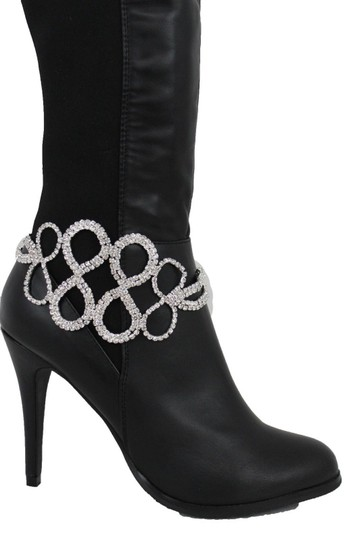 Alwaystyle4you Women Silver Metal Chain Boot Bracelet Infinity Braided Bling Anklet Image 4