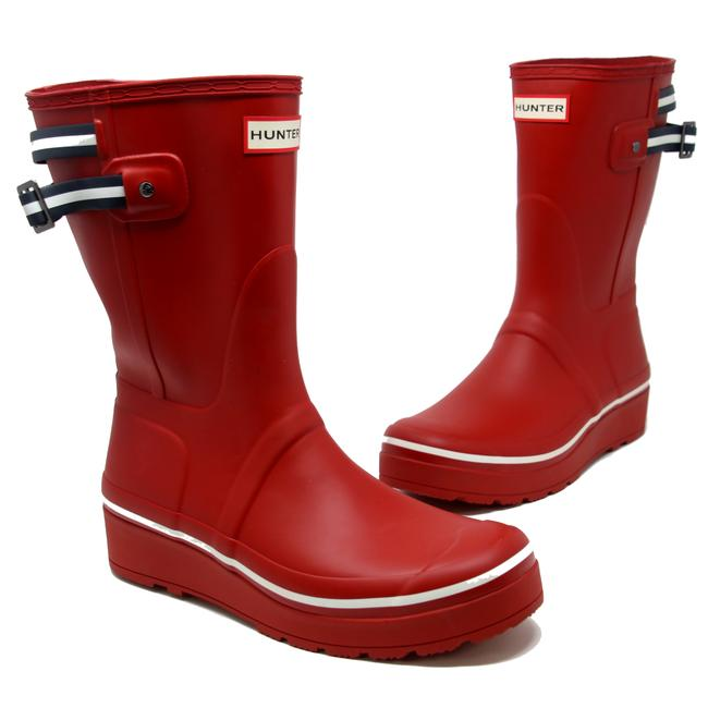 Item - Red Back-strap Short Wedge Rubber Rain Pull-on Boots/Booties Size US 10 Regular (M, B)