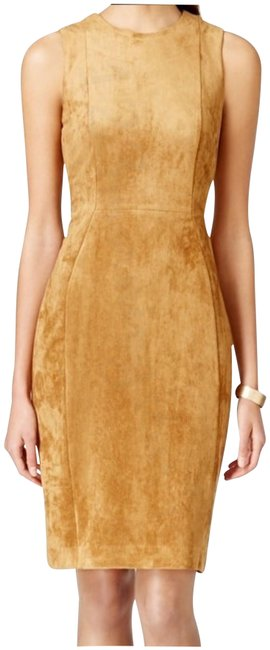 Item - Carmel Brown Natural Faux-seude Sleeveless Style No. Cd6uda00 Short Night Out Dress Size 16 (XL, Plus 0x)