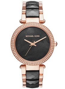 Michael Kors NWT Women's Parker Rose Gold-Tone and Black Acetate MK6414
