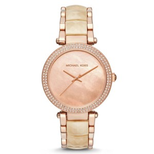 Michael Kors NWT Women's Parker Rose Gold-Tone and ChampagneAcetate MK6492