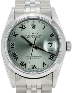 Rolex Rolex Mens Datejust Steel 36mm Grey Roman Dial Smooth Bezel Watch