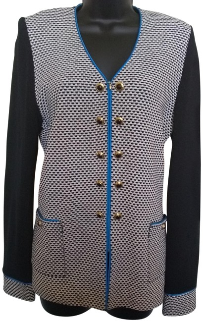 Preload https://img-static.tradesy.com/item/24210268/st-john-black-and-cobalt-blue-by-marie-gray-collection-cardigan-size-6-s-0-2-650-650.jpg