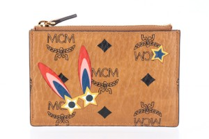 MCM MCM Brown Cognac Visetos Coated Canvas Star Eyed Bunny Keycase
