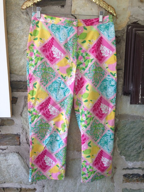 Lilly Pulitzer Pattern Patchwork Pants Signature Capris Multi-Color Image 1