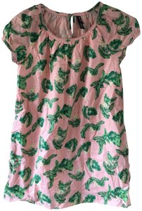 The Webster at Target Flamingo Palm Print Baby Doll Top Pink/Green