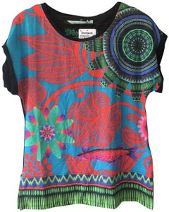 Desigual Print Multicolored Bright T Shirt Orange/Green/Blue