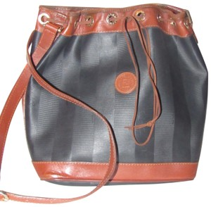 Fendi Mint Vintage Xl Size High-end Bohemian Drawstring Bucket Black/Pecan Satchel in black wide striped coated canvas and burnt orange or pecan colored leather
