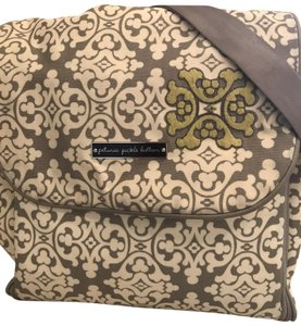 Petunia Pickle Bottom Canvas White gray and lime green Diaper Bag