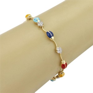 Aaron Basha Lady Bug Diamonds & Enamel 18k Gold Bracelet